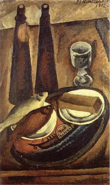 Still Life. Beer and roach., 1912 by Pyotr Konchalovsky (1876-1956, Russia)