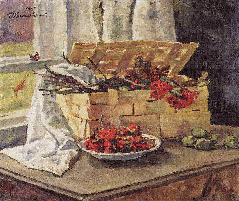 Still Life. Basket with ash., 1947 by Pyotr Konchalovsky (1876-1956, Russia) | Museum Quality Reproductions | WahooArt.com
