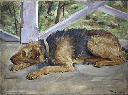 Airedale on the balcony, 1935 by Pyotr Konchalovsky (1876-1956, Russia)