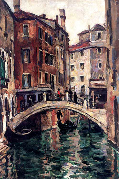 The bridge of the Apostles in Venice, Oil On Canvas by Pyotr Konchalovsky (1876-1956, Russia)