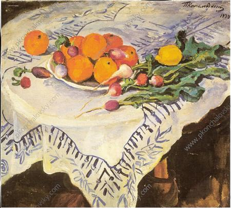 Still Life. Oranges and radishes. Kislovodsk., 1934 by Pyotr Konchalovsky (1876-1956, Russia)
