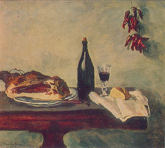 Still Life. Bread, ham and wine., 1948 by Pyotr Konchalovsky (1876-1956, Russia) | WahooArt.com