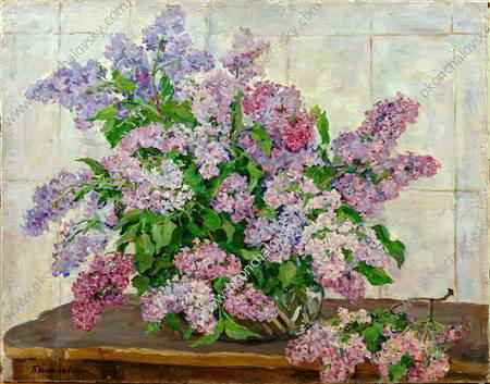 Still Life. Lilac against the stove., 1954 by Pyotr Konchalovsky (1876-1956, Russia) | Art Reproduction | WahooArt.com