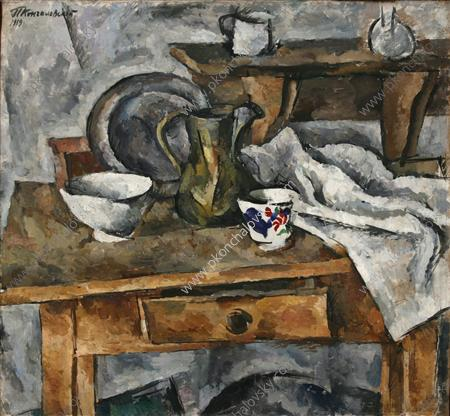 Still Life. Table with the dishes., 1919 by Pyotr Konchalovsky (1876-1956, Russia)