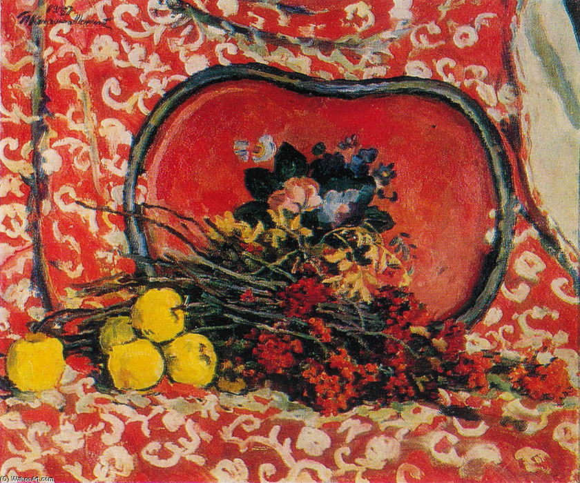 Still Life. Red tray and ash., 1947 by Pyotr Konchalovsky (1876-1956, Russia)