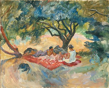 Under the tree, 1929 by Pyotr Konchalovsky (1876-1956, Russia)