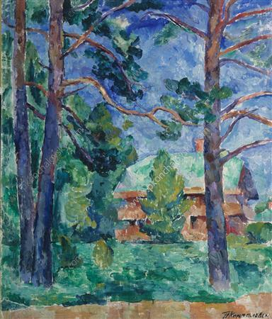 Outbuilding in the garden, 1918 by Pyotr Konchalovsky (1876-1956, Russia)