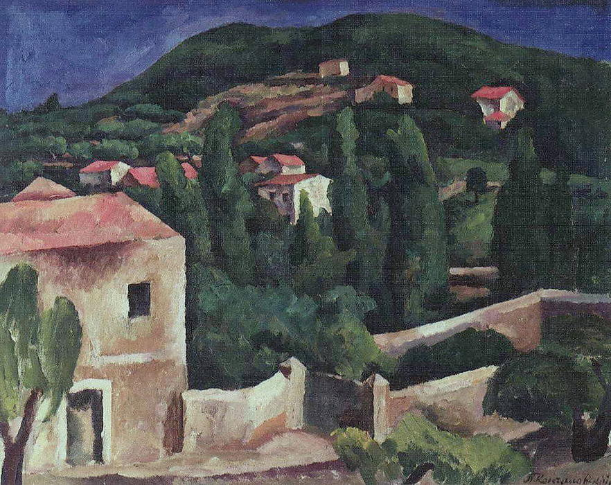 Mount Cassis, 1913 by Pyotr Konchalovsky (1876-1956, Russia) | Famous Paintings Reproductions | WahooArt.com