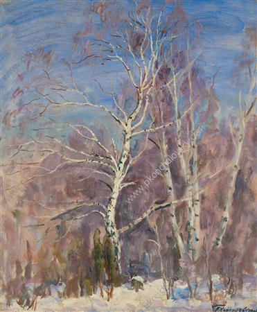 Birches in the snow, 1936 by Pyotr Konchalovsky (1876-1956, Russia) | Museum Quality Reproductions | WahooArt.com