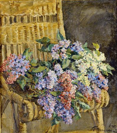 Lilac in the wicker chair, 1945 by Pyotr Konchalovsky (1876-1956, Russia)