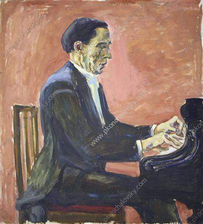 Portrait of French pianist Alfred Cortot, 1936 by Pyotr Konchalovsky (1876-1956, Russia)