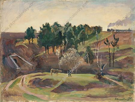 Landscape with the railway, 1935 by Pyotr Konchalovsky (1876-1956, Russia)