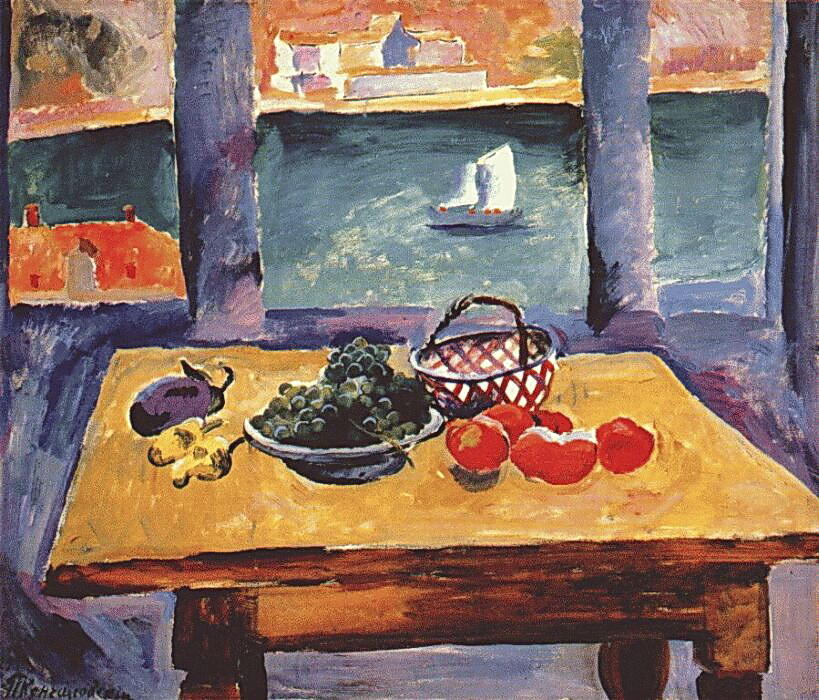 Balaklava. The window. (The grapes on the table)., 1929 by Pyotr Konchalovsky (1876-1956, Russia)