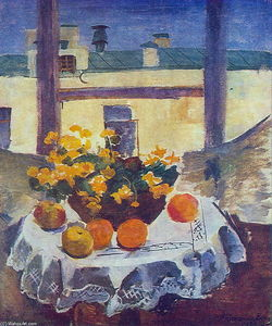 Pyotr Konchalovsky - Still Life. Table with fruits and yellow flowers.