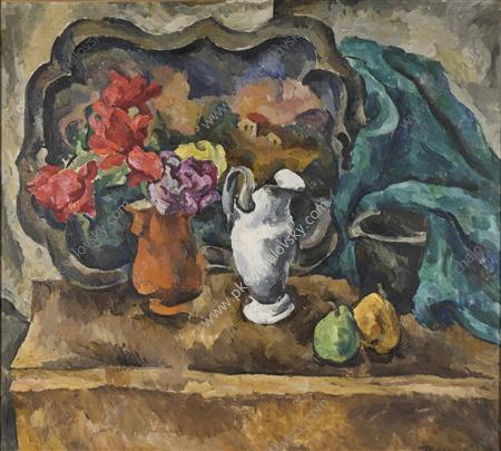 Still Life. Tray and flowers., 1918 by Pyotr Konchalovsky (1876-1956, Russia) | Oil Painting | WahooArt.com