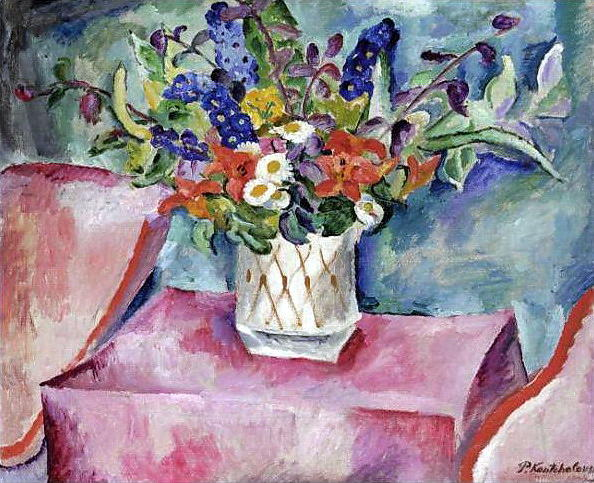 Still Life. Flowers in pink., 1918 by Pyotr Konchalovsky (1876-1956, Russia) | Museum Quality Reproductions | WahooArt.com