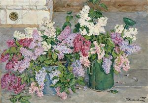 Pyotr Konchalovsky - Still Life. Lilac, a bucket and a watering can.