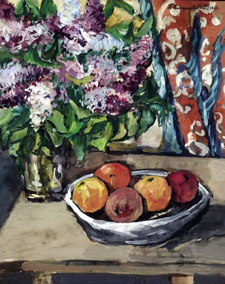 Still life with lilac and orange, 1927 by Pyotr Konchalovsky (1876-1956, Russia) | Oil Painting | WahooArt.com