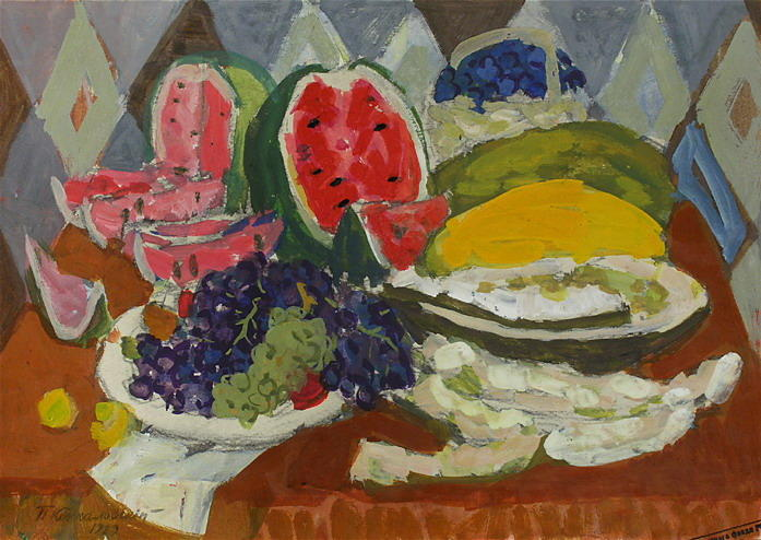 Still life with fruits and watermelon, 1929 by Pyotr Konchalovsky (1876-1956, Russia)