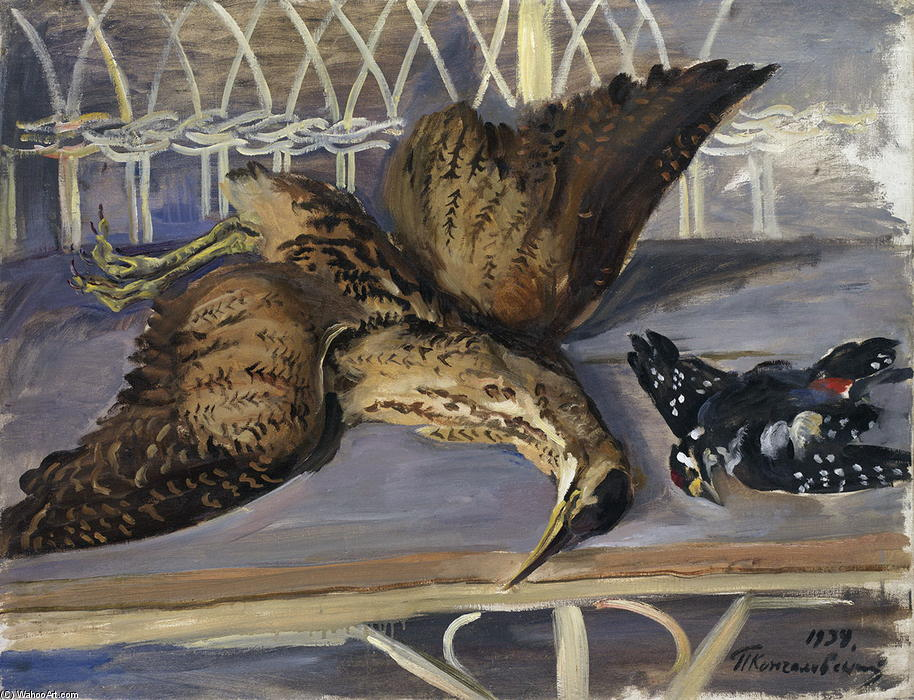 Still Life with Bittern and Woodpecker, 1934 by Pyotr Konchalovsky (1876-1956, Russia)