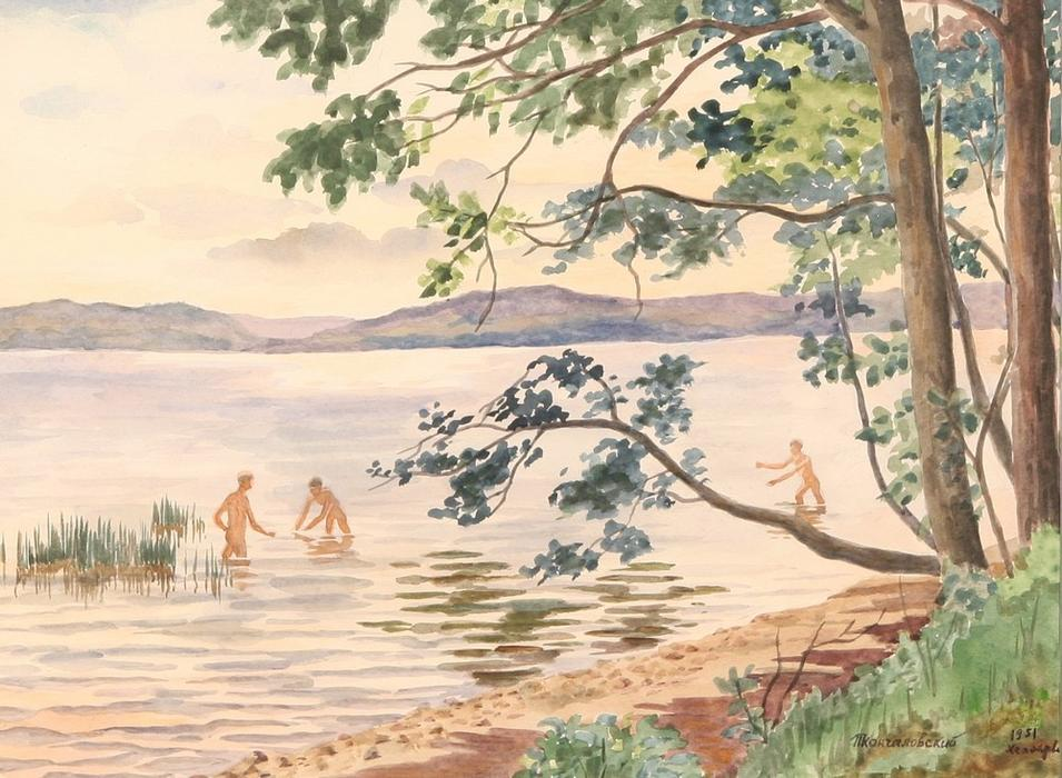 Lake Hepoyarvi, Bathing, 1951 by Pyotr Konchalovsky (1876-1956, Russia)