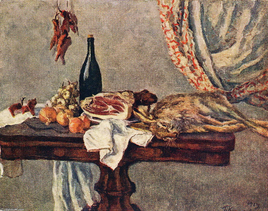 Still life with rabbit, 1954 by Pyotr Konchalovsky (1876-1956, Russia)