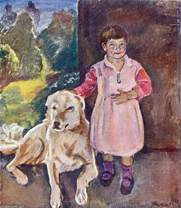 Katya with a dog by Pyotr Konchalovsky (1876-1956, Russia)