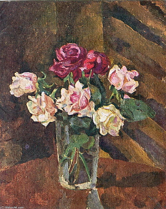 Roses in a glass by Pyotr Konchalovsky (1876-1956, Russia)