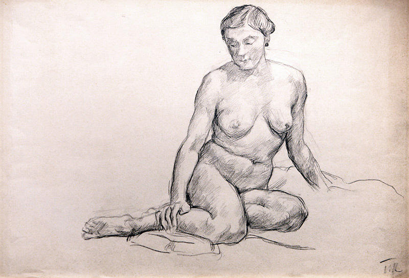 Seated nude by Pyotr Konchalovsky (1876-1956, Russia)