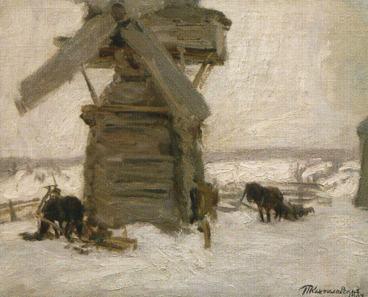 Winter. The Mill on the Ker-island., 1903 by Pyotr Konchalovsky (1876-1956, Russia)