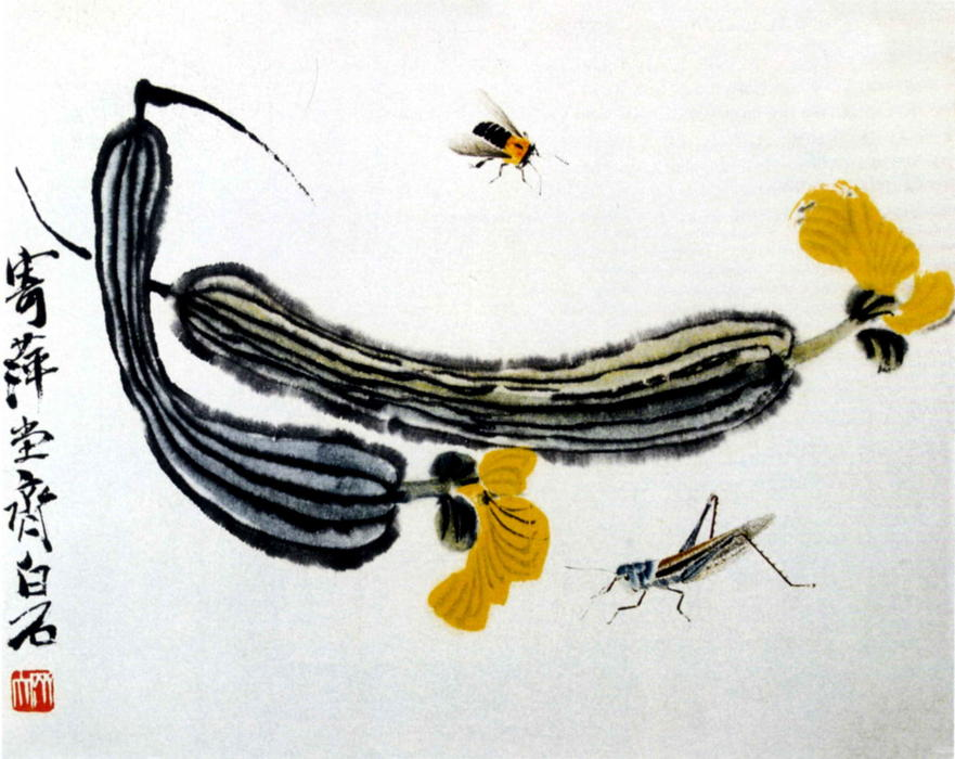 Long Melons by Qi Baishi (1864-1957, China) | Museum Quality Reproductions | WahooArt.com