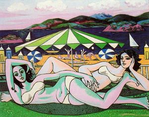 Rafael Zabaleta Fuentes - Bathers on the beach under umbrella