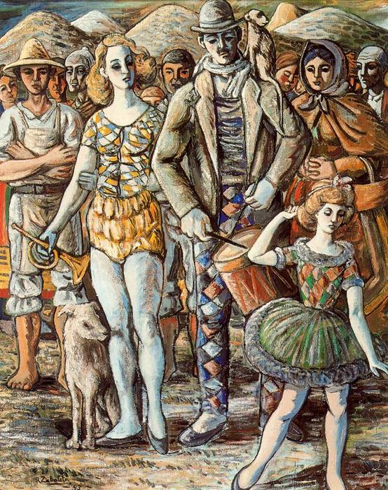 Puppeteer in the town square, 1943 by Rafael Zabaleta Fuentes (1907-1960, Spain) | Painting Copy | WahooArt.com