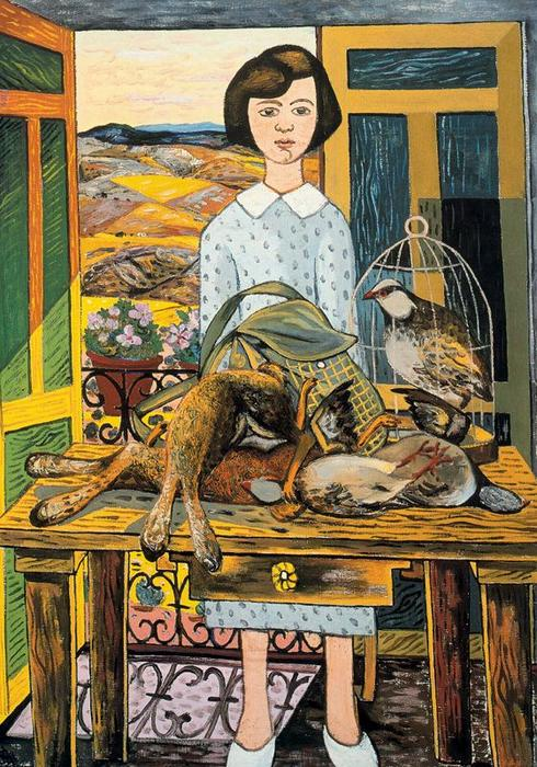 Girl with still life, 1953 by Rafael Zabaleta Fuentes (1907-1960, Spain) | Museum Quality Reproductions | WahooArt.com