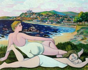 Rafael Zabaleta Fuentes - Bathers on the beach in Santander