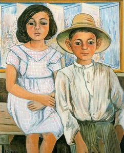 Rafael Zabaleta Fuentes - Girl sitting and boy with hat standing