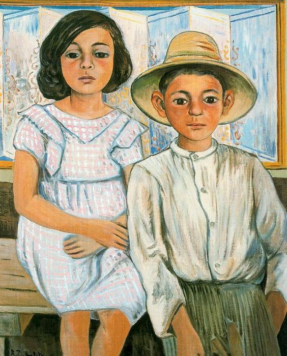 Girl sitting and boy with hat standing, 1943 by Rafael Zabaleta Fuentes (1907-1960, Spain) |  | WahooArt.com