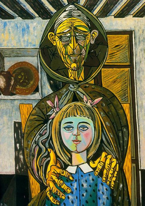 The old woman and the girl, 1957 by Rafael Zabaleta Fuentes (1907-1960, Spain) |  | WahooArt.com