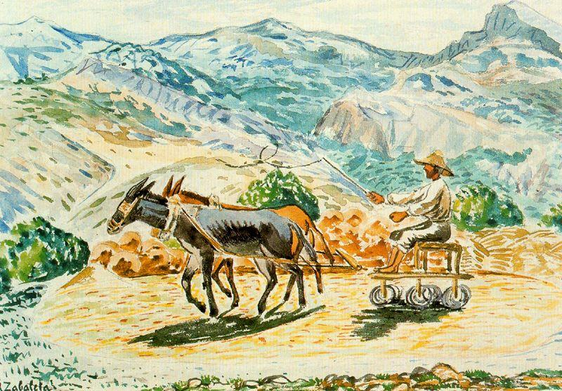 The threshing by Rafael Zabaleta Fuentes (1907-1960, Spain) | Famous Paintings Reproductions | WahooArt.com