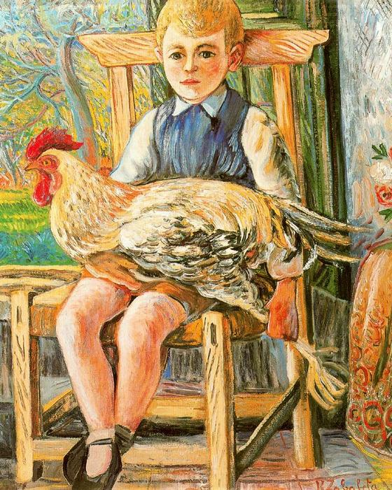 Boy sitting with a hen on his lap, 1943 by Rafael Zabaleta Fuentes (1907-1960, Spain) | Art Reproduction | WahooArt.com
