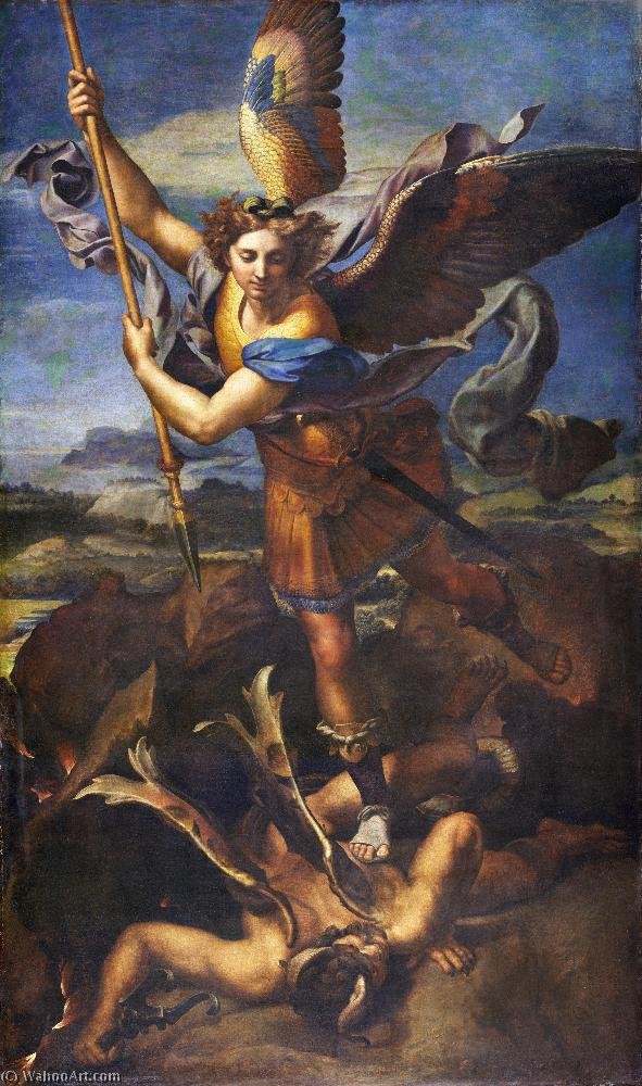 St. Michael Overwhelming the Demon, 1518 by Raphael (Raffaello Sanzio Da Urbino) (1483-1520, Italy) | Famous Paintings Reproductions | WahooArt.com