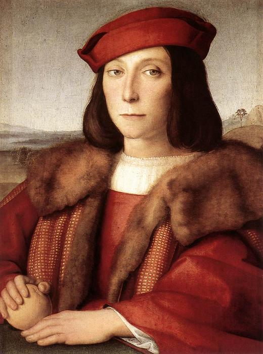 Order Art Reproductions | Portrait of a Man holding an Apple, 1500 by Raphael (Raffaello Sanzio Da Urbino) (1483-1520, Italy) | WahooArt.com