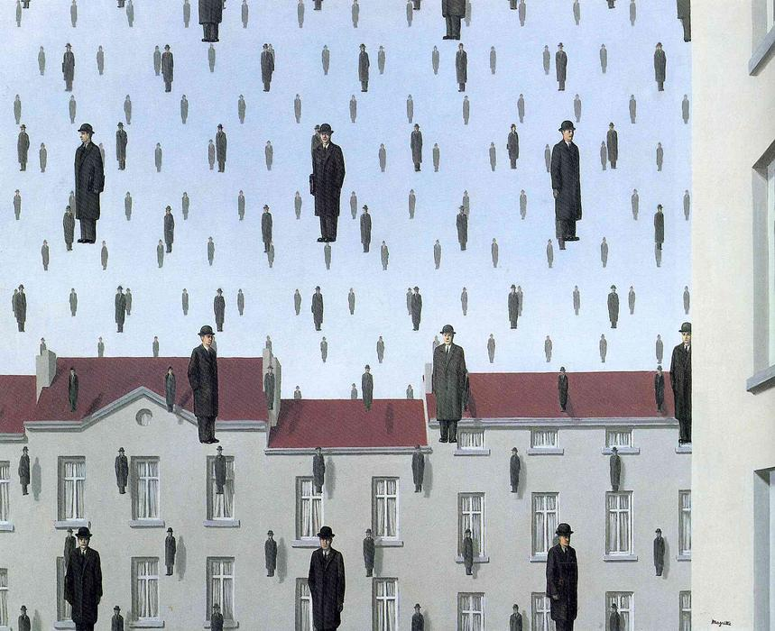 Golconda, Oil On Canvas by Rene Magritte (1898-1967, Belgium)