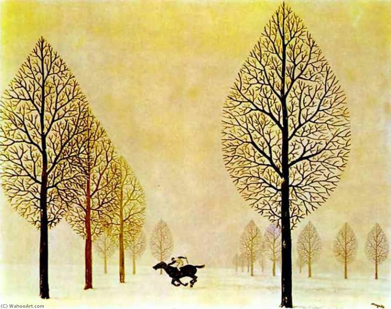 The lost jockey, Gouache by Rene Magritte (1898-1967, Belgium)