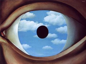 Rene Magritte - The false mirror - (Famous paintings reproduction)