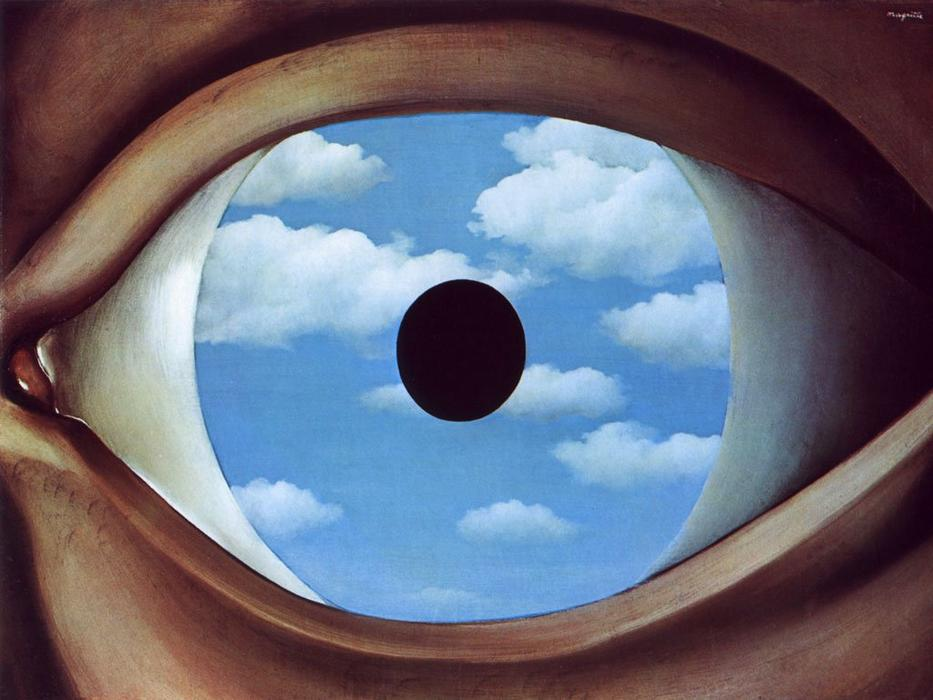 The false mirror, Oil On Canvas by Rene Magritte (1898-1967, Belgium)