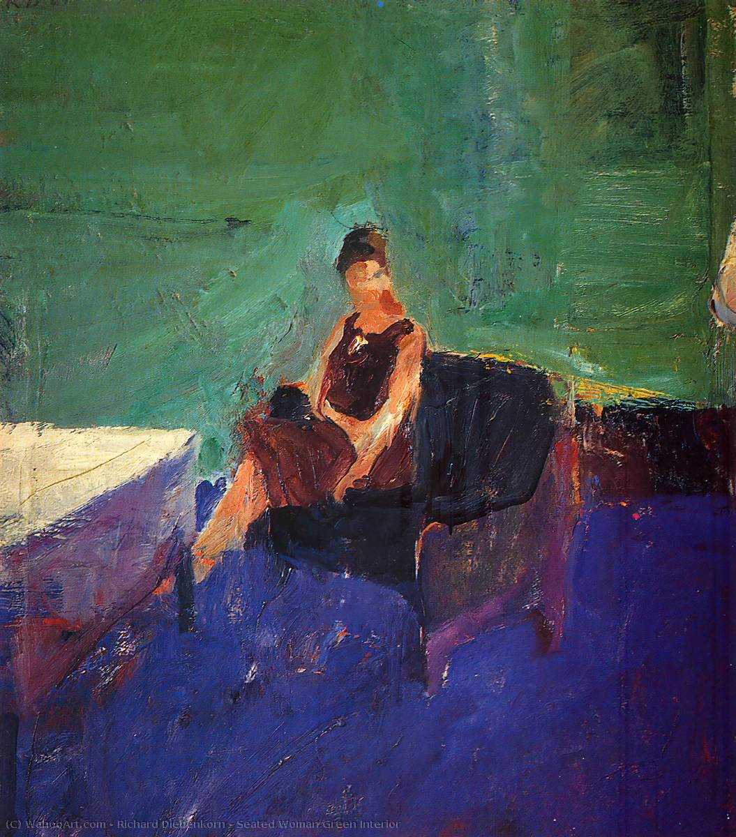 Famous Interior Paintings: Seated Woman Green Interior By Richard Diebenkorn (1922