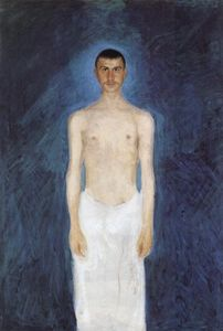 Richard Gerstl - Self-portrait in front of blue background