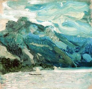 Richard Gerstl - Lake Traunsee with the Schlafende Griechin mountain