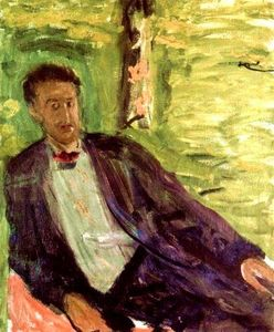 Order Reproductions | Portrait of a gentleman (green background), 1908 by Richard Gerstl (1883-1908, Austria) | WahooArt.com